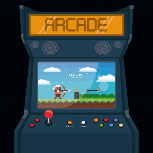 retro automat do gier zrecznosciowych premium wektorow